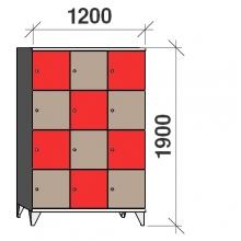 4-Tier locker, 12 doors, 1900x1200x545 mm