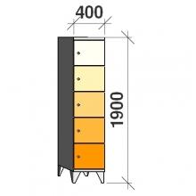 Klädskåp, 5 dörrar, 1900x400x545 mm