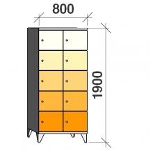 5-Tier locker,10 doors, 1900x800x545 mm