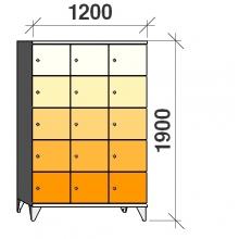 Klädskåp, 15 dörrar, 1900x1200x545 mm