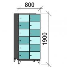 6-Tier locker,12 doors, 1900x800x545 mm