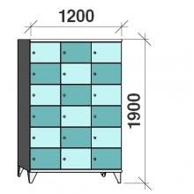 6-Tier locker, 18 doors, 1900x1200x545 mm