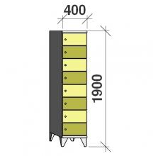 8-Tier locker, 8 doors, 1900x400x545 mm