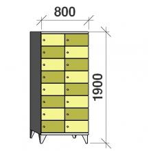 Klädskåp, 16 dörrar, 1900x800x545 mm