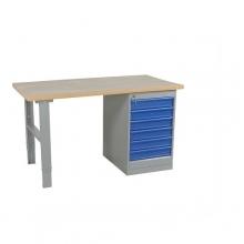 Worktable w. drawer un. 6 draw. 2000x800 mm, vinyl