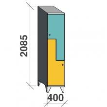 Z-skåp, 2 dörrar, 2085x400x545, sluttande topp