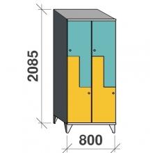 Z-skåp, 4 dörrar, 2085x800x545, sluttande topp