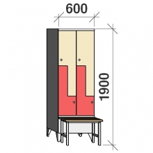 Z-locker 1900x600x845, 4 doors, with bench