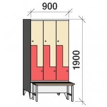 Z-locker 1900x900x845, 6 doors, with bench